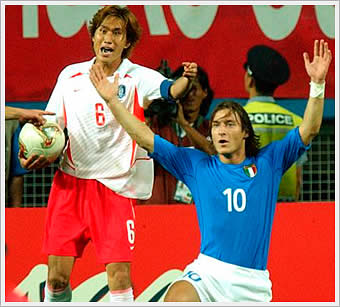 Italy's Francesco Totti getting sent off during World Cup 2002
