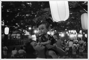 Naoko and Kaika, Bon Odori, Warabi (Saitama), July 25, 2004: click for larger image