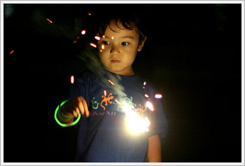 Kaika with sparkler, Ukima, July 30, 2006