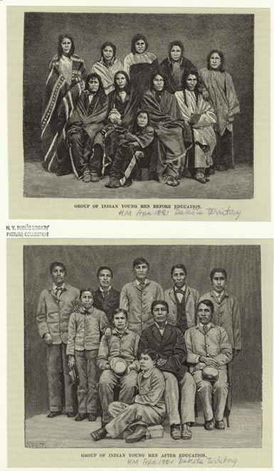 Indians before education, Indians after education (Print, 1881)