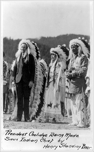 President Coolidge Being Made Sioux Indian Chief by Henry Standing Bear