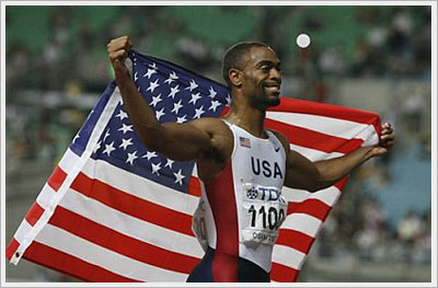 Tyson Gay after winning the 200-meter event in Osaka, 2007