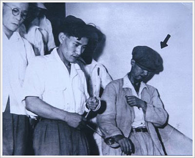 Sadamichi Hirasawa being arrested in his hometown of Otaru (Hokkaido)